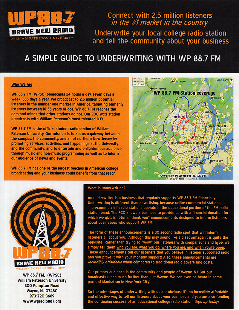 Brave New Radio Underwriting Flyer