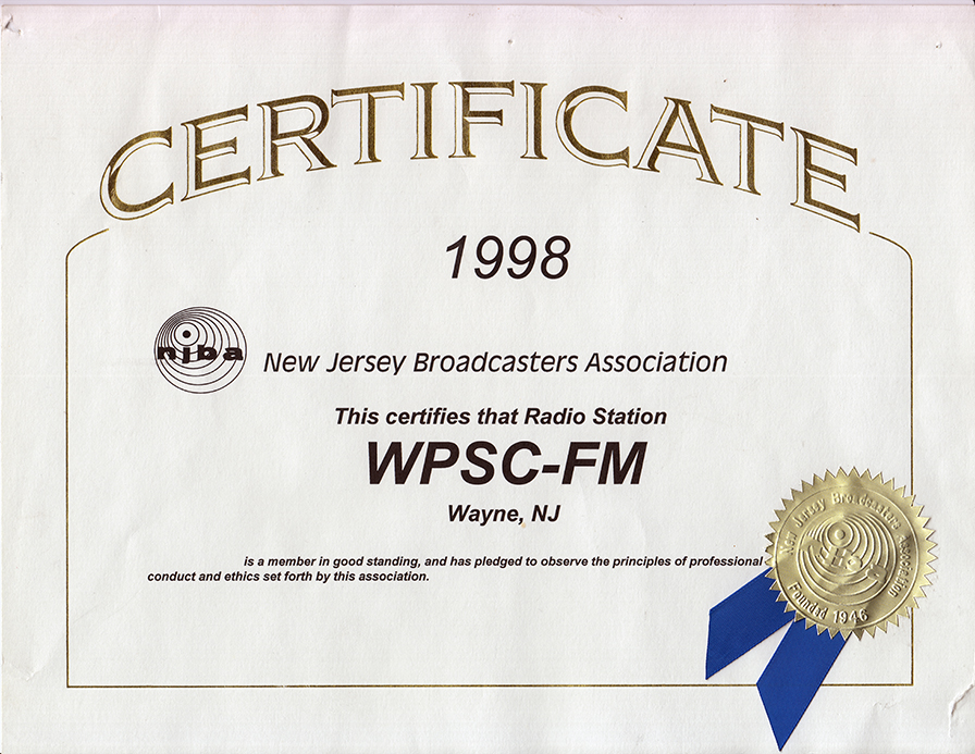 NJ Broadcaster's Association 1998 Membership