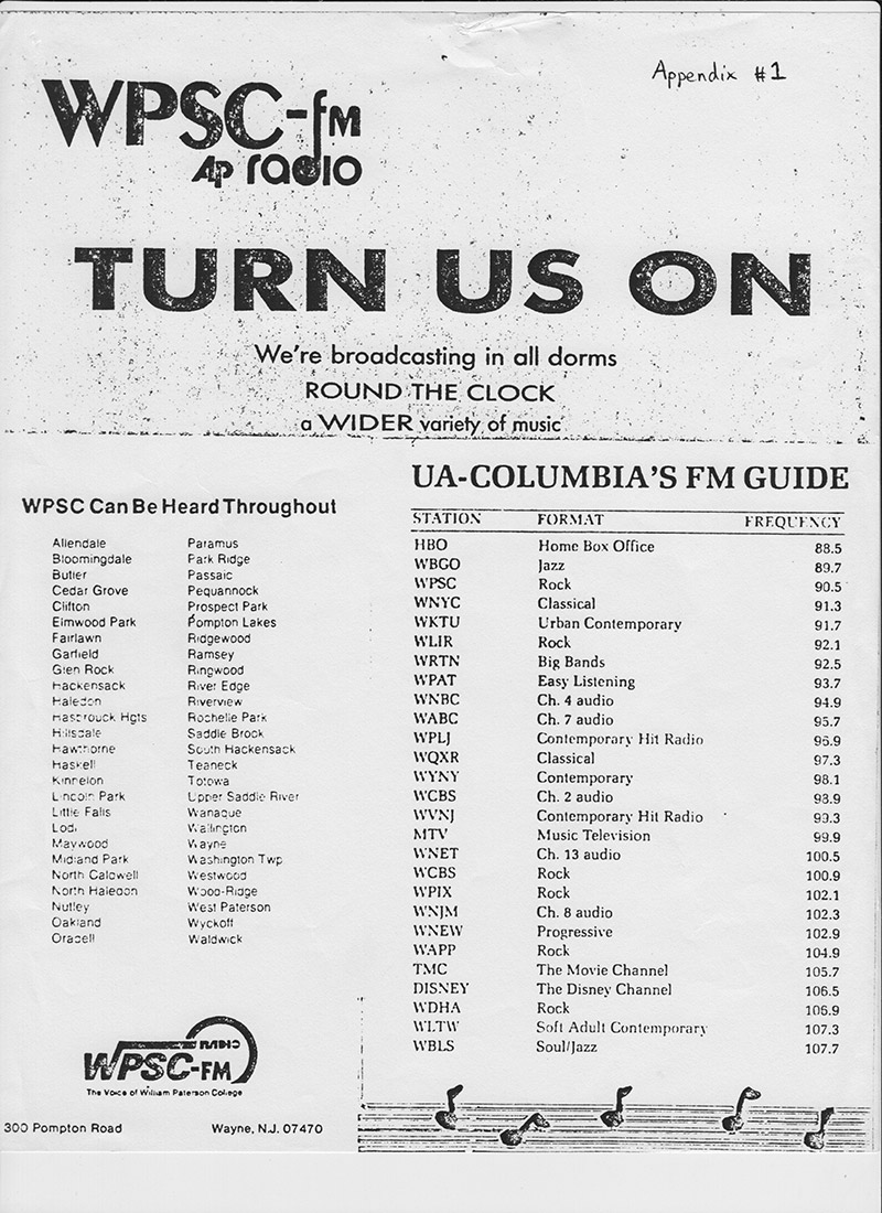 WPSC-FM UA-Columbia Cable Promotional Flyer